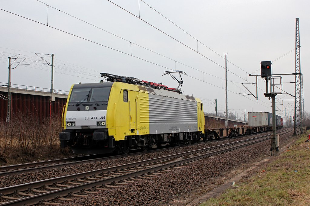 189 203 / ES 64 F4-203 in Porz Wahn am 04.04.2013