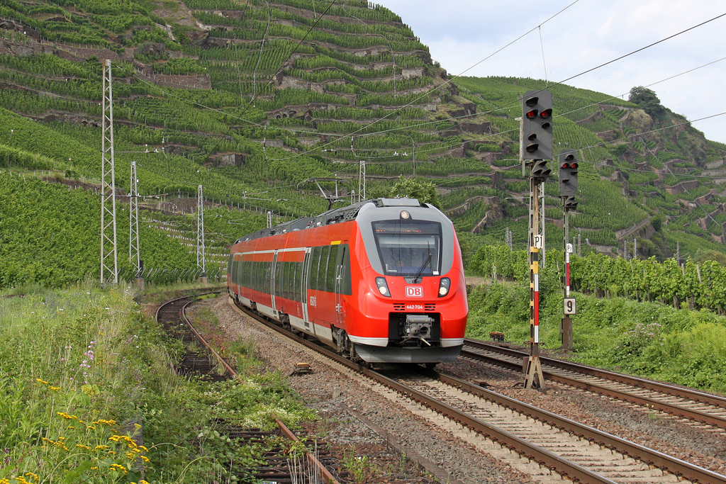 Der 442 704 in Winningen ( Mosel ) am 18,07,12