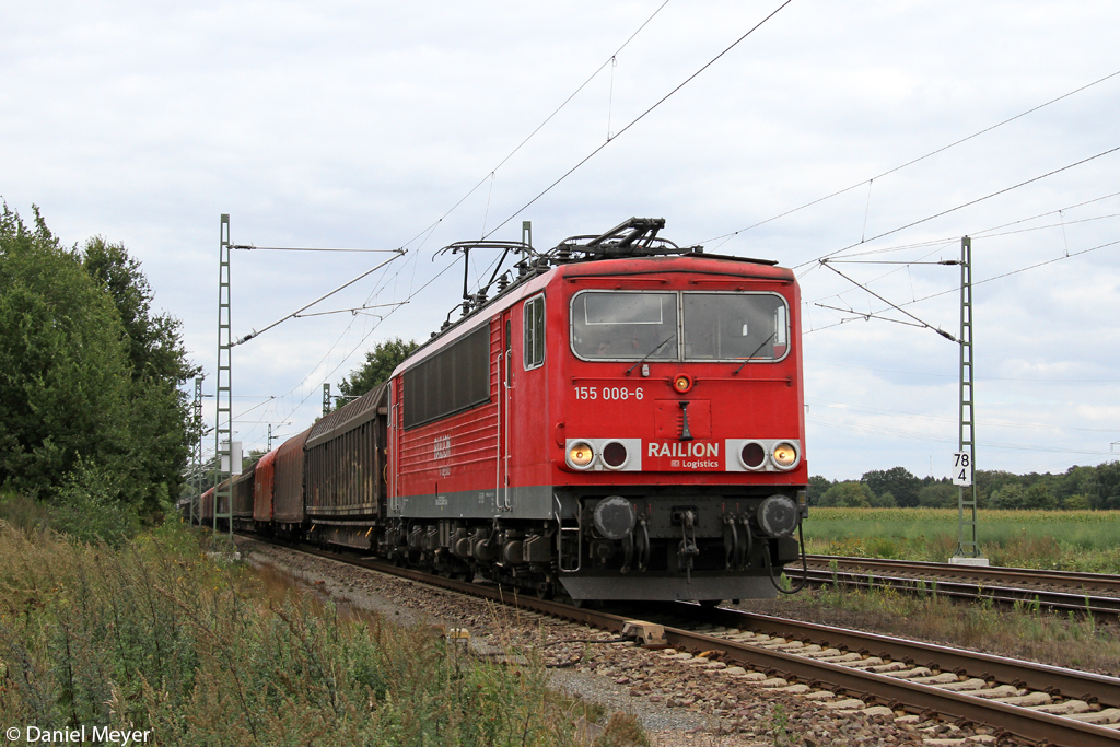 Die 155 008-6 in Dörverden am 27.08.2013
