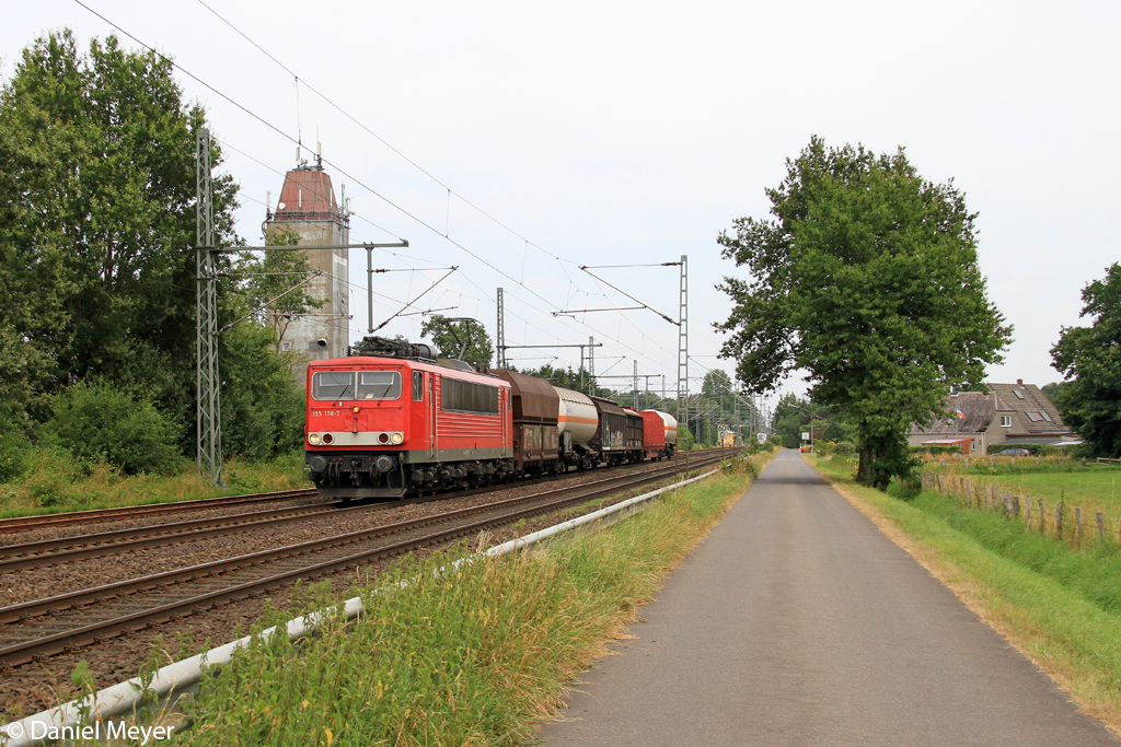 Die 155 178-7 in Brokstedt am 26.07.2013