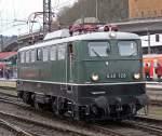 br-140-e40/62110/e40-128-verlaesst-lz-koblenz-hbf E40 128 verlässt Lz Koblenz Hbf rtg Lützel / DM Museum am 03.04.2010