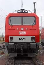 BR 156/175279/die-front-der-meg-804- Die Front der MEG 804 ( 156 004-4 ) beim Sommerfest im DB Museum / DB Regio Werk Halle (Saale) am 02,07,11