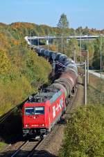 BR 185/129479/in-muenchen-nord-konnte-die-185 In München Nord konnte die 185 588 mit ihrem Kesselzug fotografiert werden. Aufgenommen am 09.10.2010