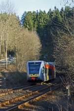 Hellertalbahn/120516/die-hellertalbahn-mit-einen-ihrer-stadler Die Hellertalbahn mit einen ihrer Stadler GTW 2/6 hat am 07.02.2011 (in Betzdorf-Alsdorf) soeben den Alsdorfer-Tunnel verlassen und fährt weiter Richtung Betzdorf.